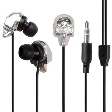 Halloween Skull Metal Earphone Headset Cable For Cell Phone