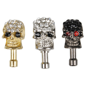Halloween 3.5mm Diamond Skull Dust Plug Earphone Plug For Cell Phone