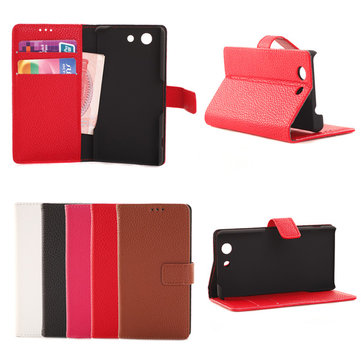 Embossed Magnetic Wallet Leather Card Cover Case For SonyZ3 mini