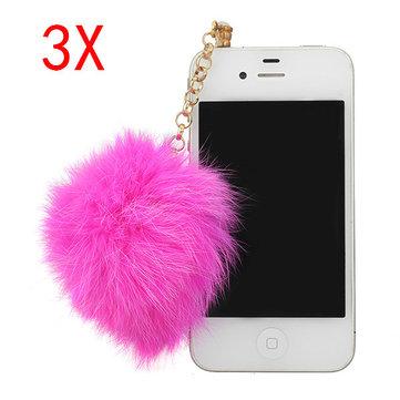 3X3.5mm Fur Ball Hangings Pendant Dustproof Plug For Mobile Phone