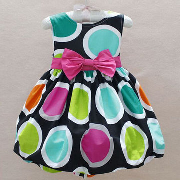 Girls Dot Bow Princess Dress Summer Sleeveless Dress