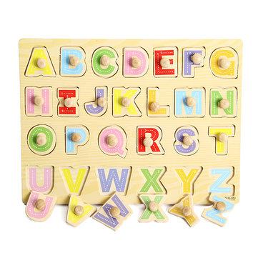 مقبض خشبي رسالة الأبجدية الوتد لغز الاطفال التعليم لعبة