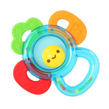Baby Girls Boys Kids Non-Toxic Sun Teether Hand Bell Toy Gift