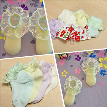 Infant Baby Kids Girls Cotton Candy Colors Lace Soft Low Cut Socks