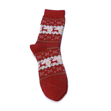 Women Christmas Thicken Warm Middle Tube Socks Casual Elk Christmas Socks