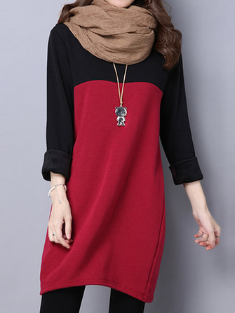 Vintage Patchwork Long Sleeve Thick Velvet Women Loose Dress