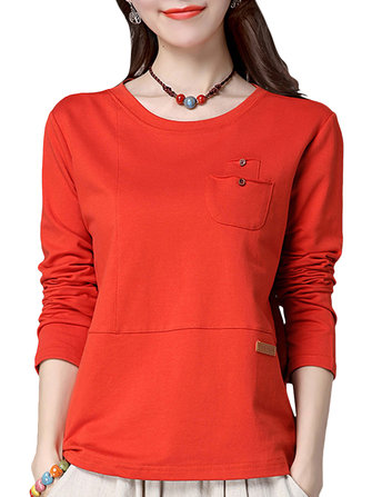 Casual Women Simple Long Sleeve Solid Slim T-Shirt
