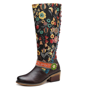 SOCOFY Splicing Floral Pattern Mid-calf Leather Boots