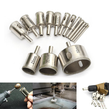 15pcs 3-50mm Diamond Drill Bit Set Hole Saw Cutter For Tile Ceramic Glass Porcelain Marble