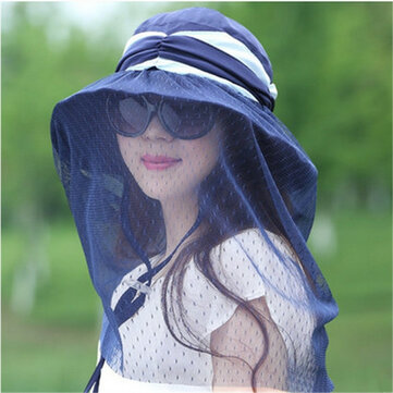 Women Breathable Face Neck Protection Beach Hat Outdoor Foldable Sunshade Bucket Cap