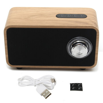 2200mAh DC 5V Digital Multimedia Speaker Bluetooth MP3 FM Radio Wooden Brown