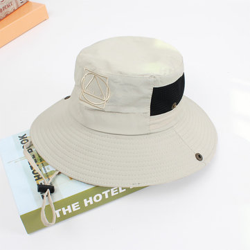 Mens Summer Wide Brim Fisherman Caps Outdoor Breathable Sunshade Casual Bucket Hat
