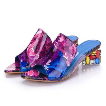 Летние шикарные туфли скольжения на сандалии платформы кристалл пятки сандалии пляжа