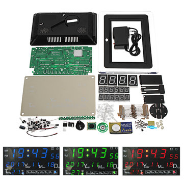 DC9-12V Electronic Calendar Soldering Kit High Precision DIY Clock Kit ECL-1227 12/24 Hour C/F Switchble