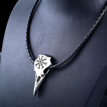 Viking Amulet Crow Skull Pendant Necklace Trendy Genuine Leather Chain for Men Women