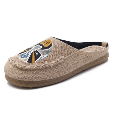 Men Comfy Breathable Flax Slippers Casual Breathable Loafers