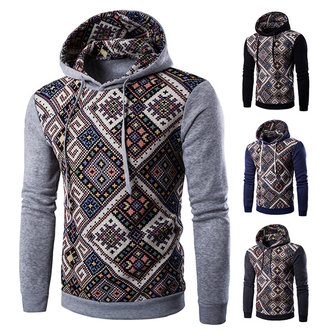 Men's Ethnic Casual Sporty Contrast Color Hooded Pull-over Slim Cut Sportswears