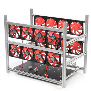 12 GPU Steel Coin Miner Mining Frame Steel Case LED Light With 16 Fans For ETH ZEC/BTB