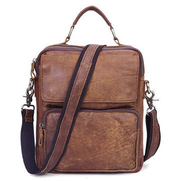 Classic Leather Messenger Bag Retro Men Bag for Ipad