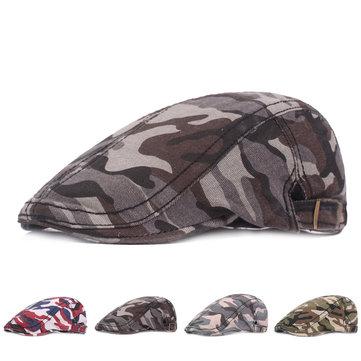 51c389dab4067 Mens Camouflage Cotton Beret Cap Summer Outdoor Sunshade Peaked ...
