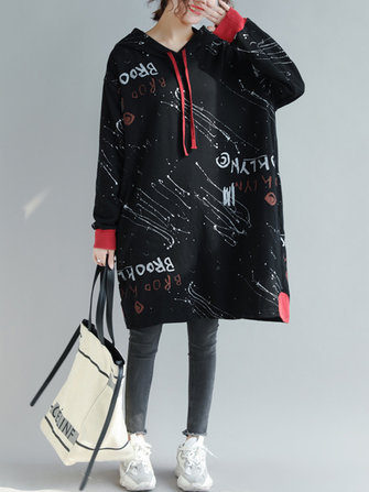 Plus Size Letter Print Hooded Women Long Sweatshirt