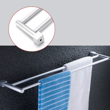 Bathroom Double Towel Rail Rack 2 Bar Space Aluminum Hanger Wall Mounted Towel Shelf Bath Rails Bars Holder