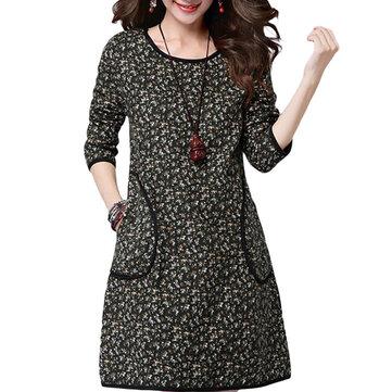 Vintage Loose Women Long Sleeve Pocket Floral Printed Dress