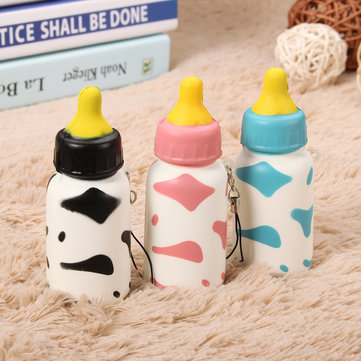 Squishy Milk Nursing Bottle Toy Cute Kawaii Phone Bag Strap Pendant 10x4cm