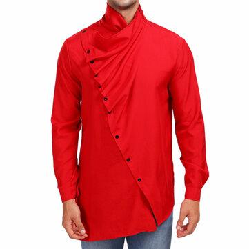 Casual Irregular High Collar Shirts for Men