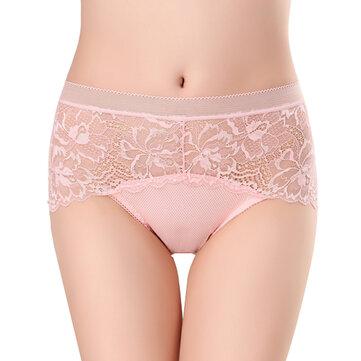 L-2XL Mid Waist Floral Lace Seamless Transparent Panties