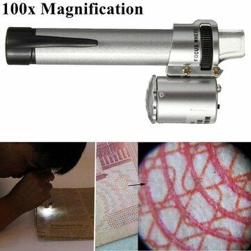 100x يده جيب ليد القلم نمط المجهر العدسة جوهرة مجوهرات المكبر التكبير القلم