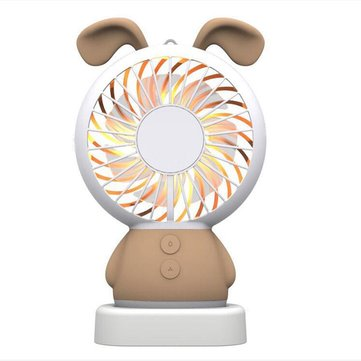 Mini Portable USB Handheld Rechargeable Fan With Colorful LED Night Light for Home Office Dormitory