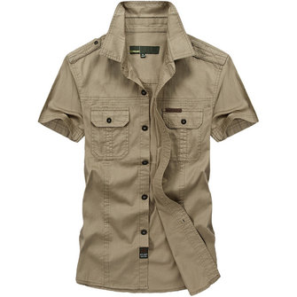 Military Style Plus Size Chest Pockets Short Sleeve Cotton Work Shirt for Men