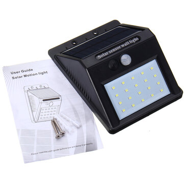 Waterproof IP44 20 LED Solar Power PIR Motion Sensor Wall Light Switch