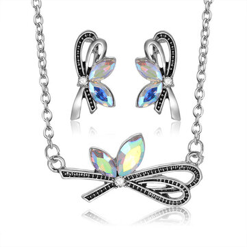 Colorful Rhinestones Bowknot Necklaces Stud Earrings for Wom