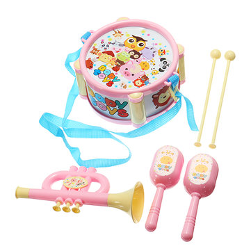 Musical Drum Horn Maracas Plastic Music Toy Set for Kids