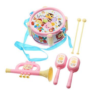 Musical Drum Horn Maracas Plastic Music Toy Set for Kids
