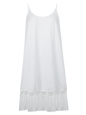 Sexy White Strap Tassels Backless Tank Top For Women