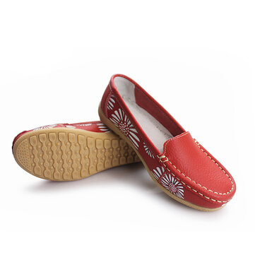 Women Flats Shoes Comfortable Slip-On Soft Casual Flower Floral Leather Loafers Flats Shoes