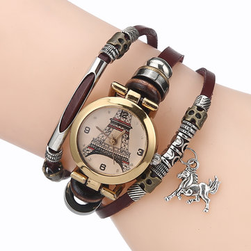 Gold Eiffel Tower Pattern Watch National Style Bracelet Watch Women Quartz Watch