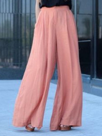 Women High Waist Solid Color Chiffon Wide Leg Pants