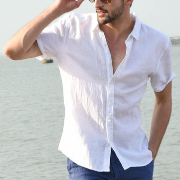 Comfy Cotton Breathable Summer Casual Shirts Plus Size Plain Simple Shirt for Men