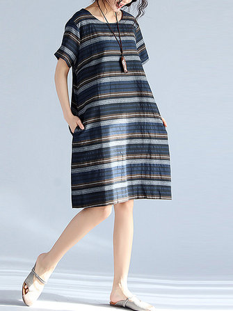Retro Striped Short Sleeve Dress
