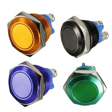 3A 250VAC 16mm Start Horn Button Metal Waterproof Push Button Switch Nickel Brass