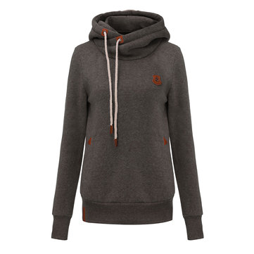 Casual Slim Drawstring Solid Color Long Sleeve Hoodie For Women