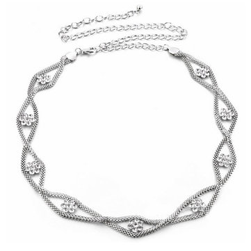 Women Flower Rhinestone Silver Waist Belt Chain Body Jewelry