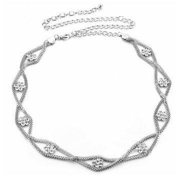 Women Flower Rhinestone Silver Waist Belt Chain Body Jewelry