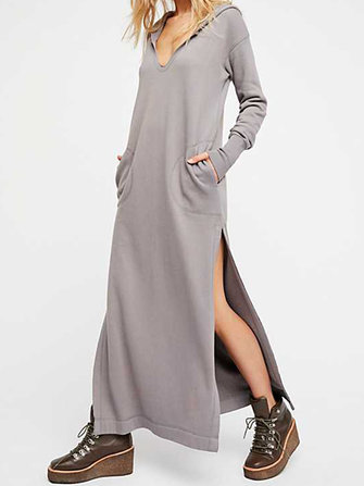 Plus Size V-neck Long Sleeve Side Split Hooded Sweatshirt Dress for Women