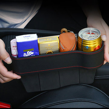 PU Leather Car Seat Crevice Storage Box Gap Slit Pocket Catcher Box Phone Key Holder