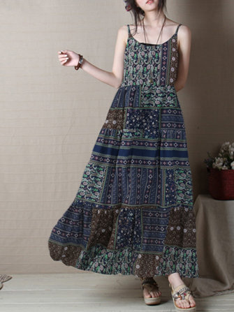 Vintage Women Bohemian Floral Print Sleeveless Dress